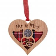 Wedding Heart Lucky Sixpence - Mr & Mrs