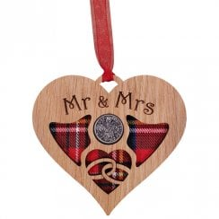 Wedding Heart Lucky Sixpence - Mr & Mrs
