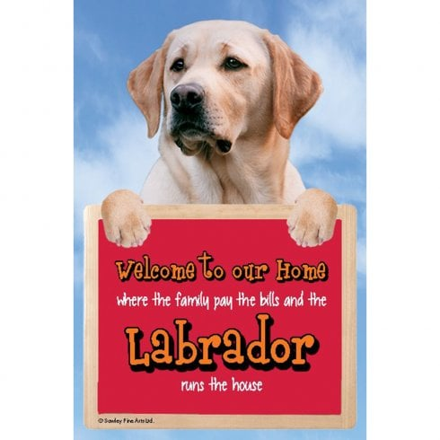 Faithful Friends Collectables Welcome 3D Hang-Up Labrador (Yellow)