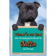 Welcome 3D Hang-Up Staffie (Black)