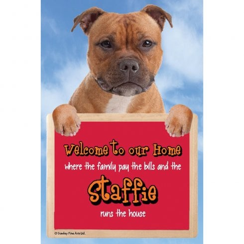 Faithful Friends Collectables Welcome 3D Hang-Up Staffie (Red)