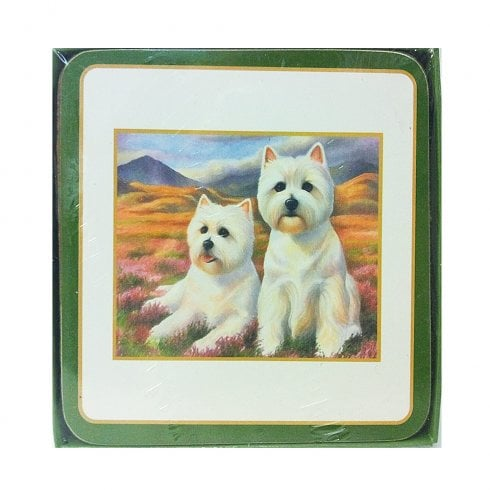 Sawley Fine Arts Westie Pair Coaster Set