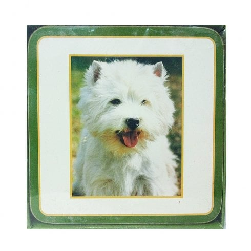 Sawley Fine Arts Westie With Tongue Out Set Of Coasters