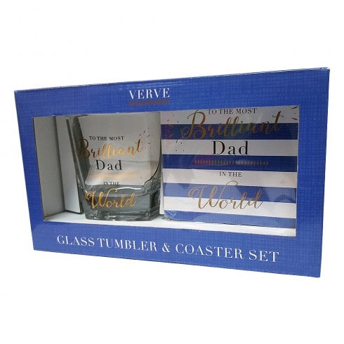The Verve Collection Whisky Glass & Coaster Set Brilliant Dad