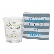 Whisky Glass & Coaster Set Brilliant Grandad