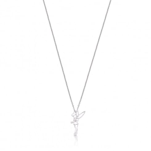 Disney Couture White Gold Plated Outline Tinkerbell Necklace