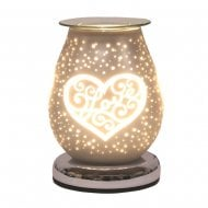 White Satin Burner With Love Heart 16cm