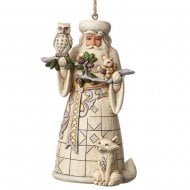 White Woodland Santa Hanging Ornament