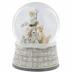 White Woodland Santa With Animals Waterball