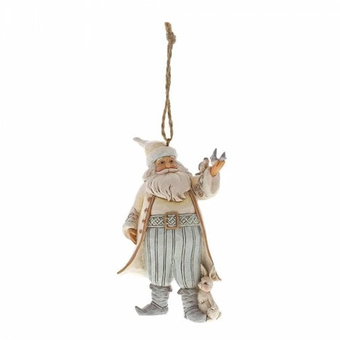 Jim Shore Heartwood Creek White Woodland Santa With Birds Hanging Ornament
