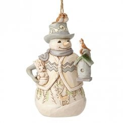 White Woodland Snowman with Birdhouse H/O