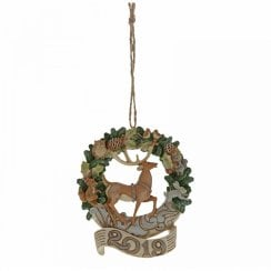 White Woodland Wreath 2019 Hanging Ornament