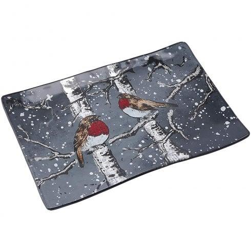 CGB Winter Robin Glass Rectangular Display Dish