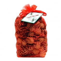 Winter Spice Scented Pine Cones In Red Organza Bag