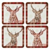 Winter Stag Coasters Set Of Four