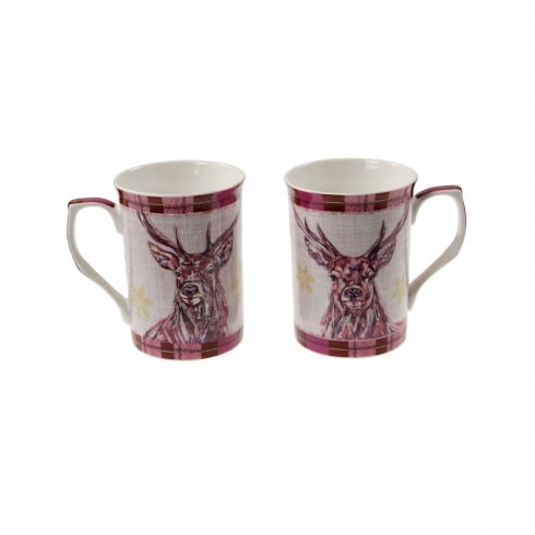 Lesser & Pavey Winter Stag Mugs Set Of 2