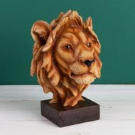 Wood Effect Resin Figurine Lion Head