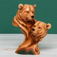 Wood Effect Resin Figurine-Two Bear Heads