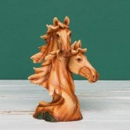 Wood Effect Resin Two Horse Heads Figurine