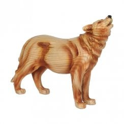 Wood Effect Resin Wolf Figurine