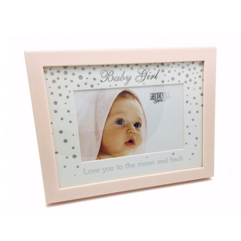 Shudehill Giftware Wooden Glitter Pink Baby Girl 6 x 4 Photo Frame