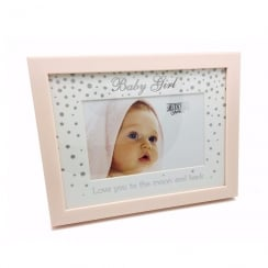 Wooden Glitter Pink Baby Girl 6 x 4 Photo Frame