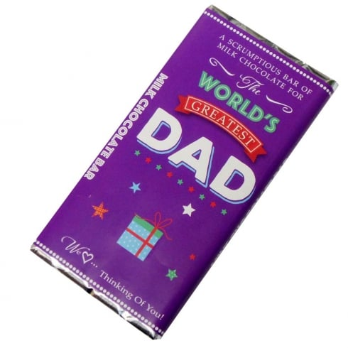 Words & Wishes Worlds Greatest Dad Milk Chocolate Bar