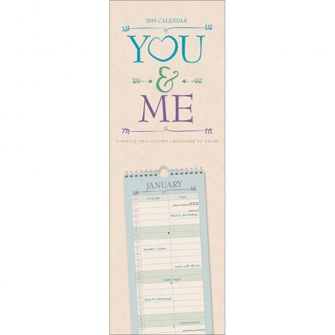 You & Me Couples Slim Wall Planner 2019