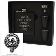 Young Clan Crest Black 6oz Hip Flask Box Set